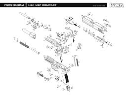 heckler koch full metal usp compact ns2 airsoft gas blowback gun explosion diagram