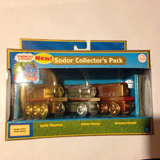 sodor collector s pack thomas train new wooden engine gold silver percy bronze