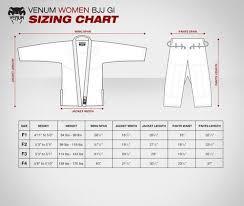 Venum Women S Gi Size Chart Venum Gi Sizing Chart Jiu Jitsu Gi Jiu Jitsu Brazilian