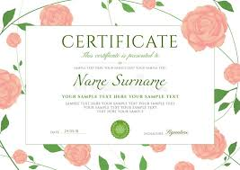 Certificate Of Completion Template With Flowers Roses And Green ...