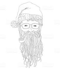 Small Picture Santa Hipster Coloring Page For Children And Adults stock vector
