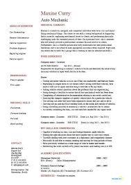 Auto Mechanic Resume Template Vehicles Car Sample Example Job