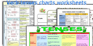 English Verb Tenses Chart Worksheets Verb Tenses Charts Worksheets