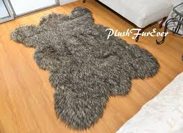 details about 2 x 3 small black tip coyote bearskin area rug accents faux fur throw rug
