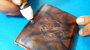 leather wallet logo engraving embossing with cutart pyrography and wood burning pen