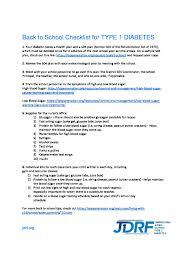 School Checklist Back To School Checklist For Type 1 Diabetes North Florida Chapter