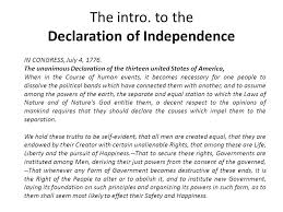 dbq declaration of independence ppt video online  the intro to the declaration of independence
