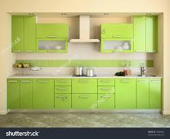 Kitchen Interior Modern Green Kitchen Interior 3d Render Stock Illustration