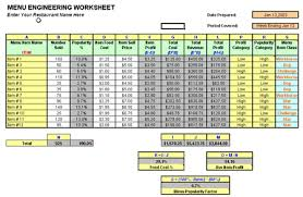 Food Cost Worksheet Sanfranciscolife