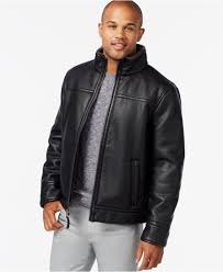 lyst calvin klein faux leather shearling jacket in black for men