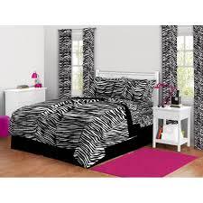 details about zebra animal print queen size 7 piece bed in a bag bedding set comforter sham