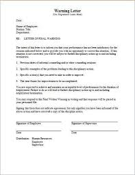 warning letter employee for misconduct
