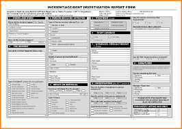 Form For Accident Incident Report Accident Incident Investigation Procedure Template And Accident