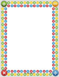 birthday writing paper fun paper is a great incentive for this printable math border features colorful lines of arithmetic symbols in rows and subtraction division