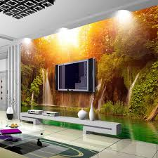 wall mural photo wallpaper living room sofa tv background art painting sunshine forest waterfall 3d wall paper