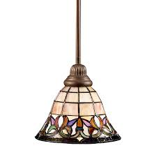 portfolio flora mission bronze mini traditional stained glass bell pendant