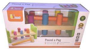 hammering pounding bench with pegs and hammer wooden educational toy