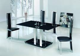 alba large chrome black glass dining table with amalia chairs