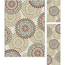 dco1011set3 3 piece set ivory teal blue and red area rug deco