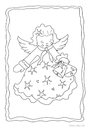 Christmas Angel Coloring Pages Cherub Christmas