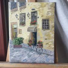 saatchi art artist julia kubytovych painting italian cafe art