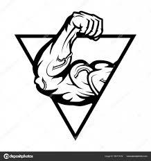 Gym Logo Bodybuilder With The Muscular Body Stock Vector