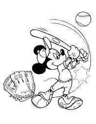 Baseball Mickey Coloring Page H M Coloring Pages