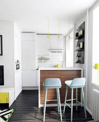 Apartment:Stunning Modern Apartement With Black Kitchen Cabinet And Round  Dining Glass Table Also Red