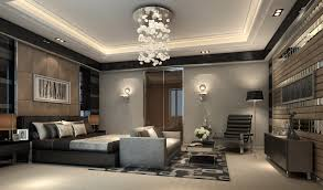 bedroom chandelier wall lamps grey bed grey headboard grey floor grey wooden table grey chair floor