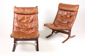 norwegian siesta bentwood and tan leather lounge chairs by ingmar