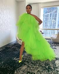 Oyemwen High Low Tulle One Shoulder Maxi Tutu Dress Neon Green (As Worn by  Yung Miami) | Neon prom dresses, Neon green dresses, Tulle dress