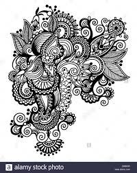Aut Art And Design Black Line Art Ornate Flower Design Ukrainian Ethnic Style