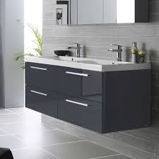 black gloss wall hung vanity units with basin for modern bathroom flooring design ideas