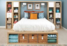 Storage furniture for small bedroom Stairs Bed Surrounded By Shelving Units Lowes Storage Ideas For Small Bedrooms