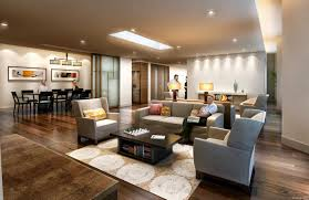 minimalist elegant design rugs in family room that has wooden floor and grey sofas can add