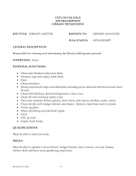 Custodian Resume Sample Janitor A Proper Example Objective Lines
