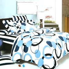 off white cotton duvet cover queen twin covers blue black geometric circle dot teen girl bedding