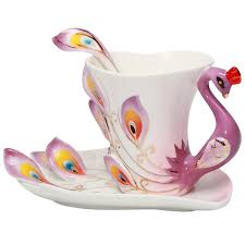 Decorative Cups And Saucers Amazon Purple Elegant Handpainted Peacock Sculpted Decorative 30