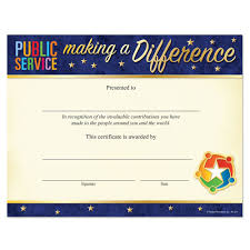 Making A Certificate Public Service Making A Difference Foil Stamped Recognition