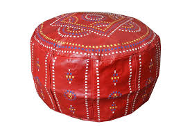 handcrafted moroccan red leather pouf pouffe ottoman hassock footstool