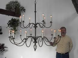large 60 dia custom 18 s arm 2 tier wrought iron chandelier