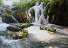 waterfall oil painting river art