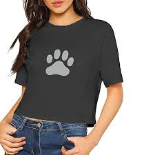 Dog Bones Paw Navel T Shirts Crop Top For Womens At