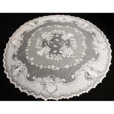 white tablecloth vintage round lace table cloth topper valentines day decor 70