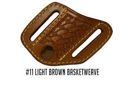 a m leatherwork handmade case mini trapper knife sheath light brown basket weave amlw11bkwst