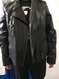 1 3 women s biker style real leather jacket mint condition las size 20 hardly used stylish and beautifully made zipped pockets
