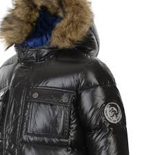 sel boys black padded jacket with detachable faux fur t