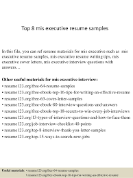 Top 8 mis executive resume samples In this file, you can ref resume  materials for ...