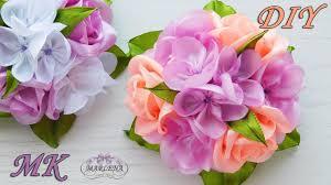 <b>Зажимы для волос с</b> букетиком роз . Канзаши МК/DIY - YouTube