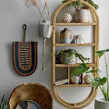 bloomingville oval rattan wall shelf